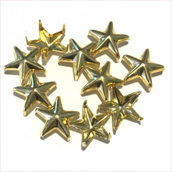 Schmucknieten Sterne, goldfarben, ca.1cm groß, 10Stück